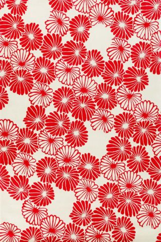 overhead of aki rug by akira red flowers on white background