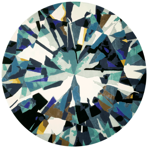 overhead of round diamond round rug evolve collection