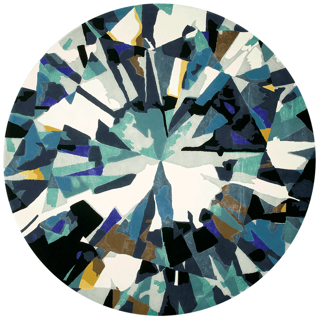 overhead of round diamond round rug evolve collection