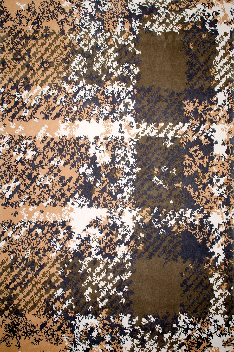 overhead of tartan rug evolve collection brown distressed