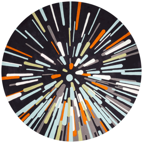 overhead of warp speed round rug evolve collection