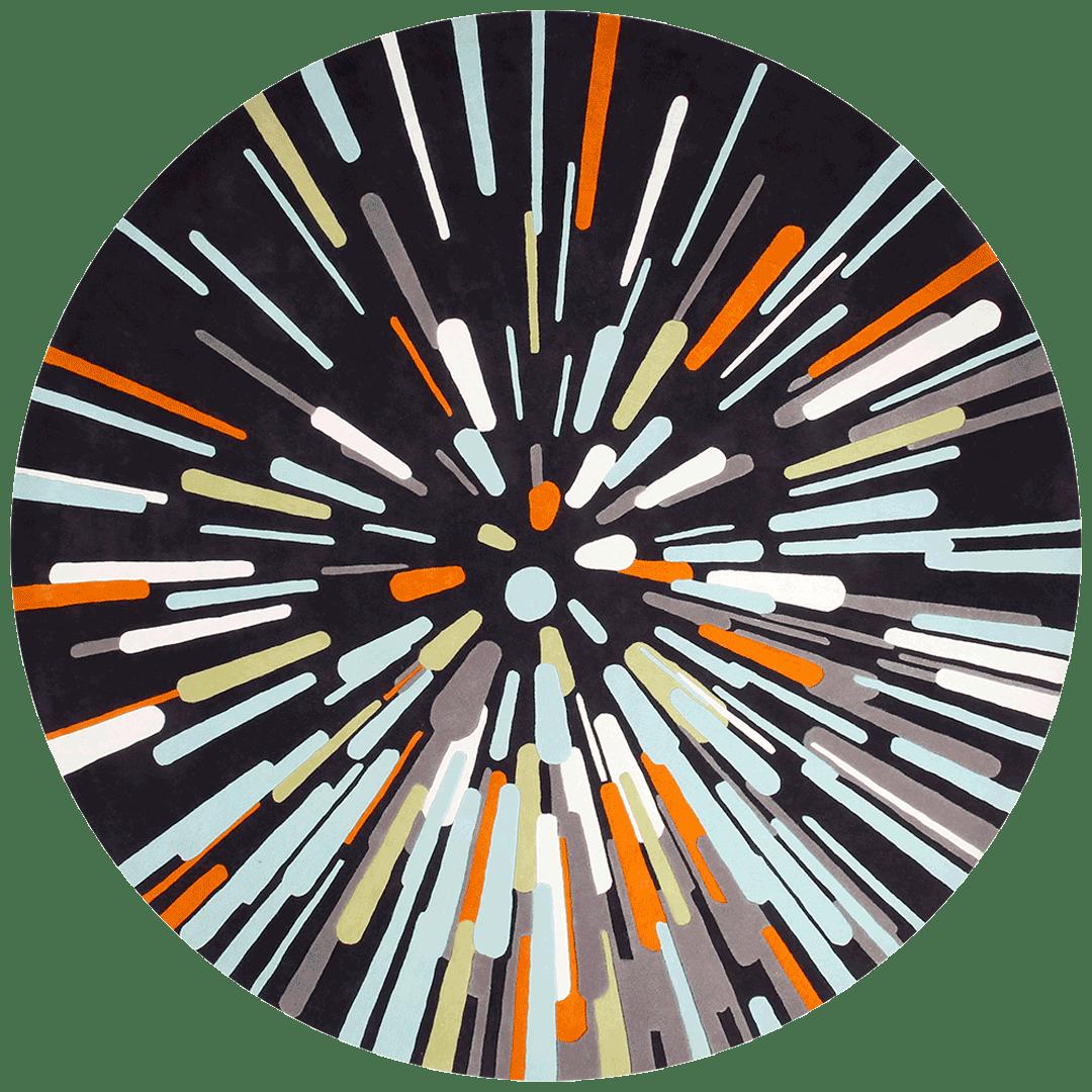 overhead of warp speed round rug evolve collection