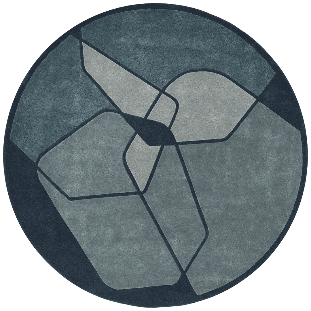 overhead of fractions round rug evolve collection