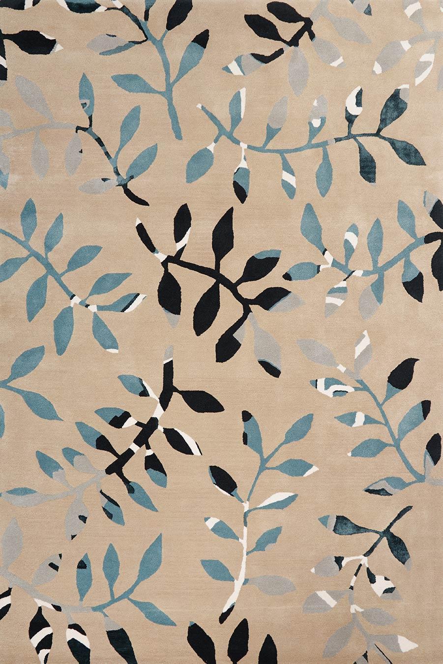 Overhead image of botanical Fernery rug