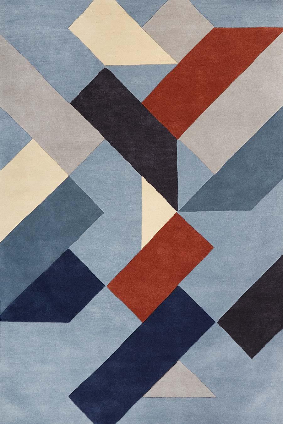 overhead image of geometric Fuse rug