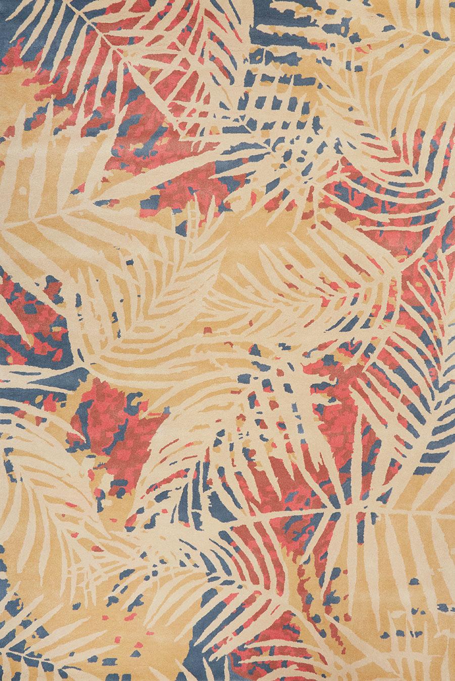 Overhead image of botanical Makani rug