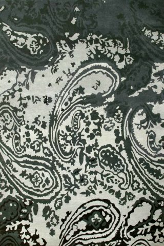Overhead view of Persian rug in slate grey colour