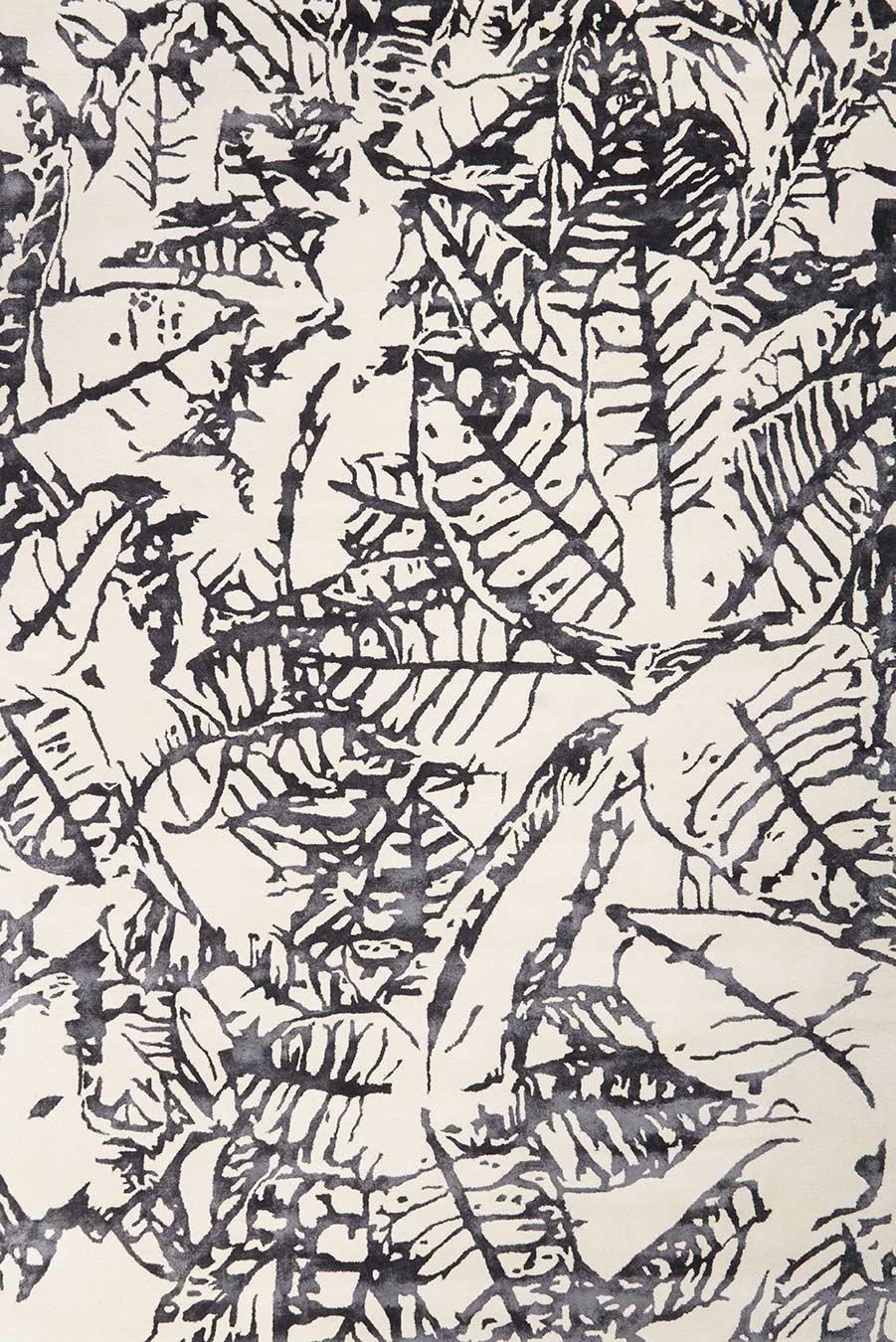 overhead image of botanical Variegated Leaves rug