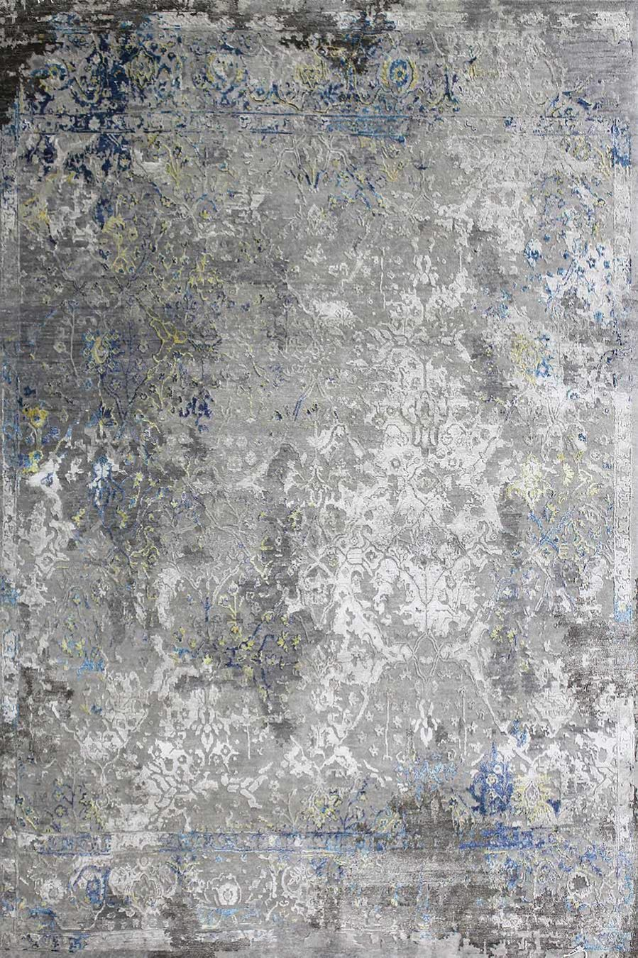Overhead image of distressed Bensen rug in grey colour