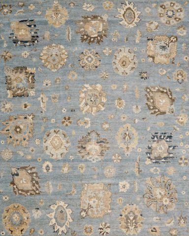 Overhead image of floral Cadiz rug in blue colour