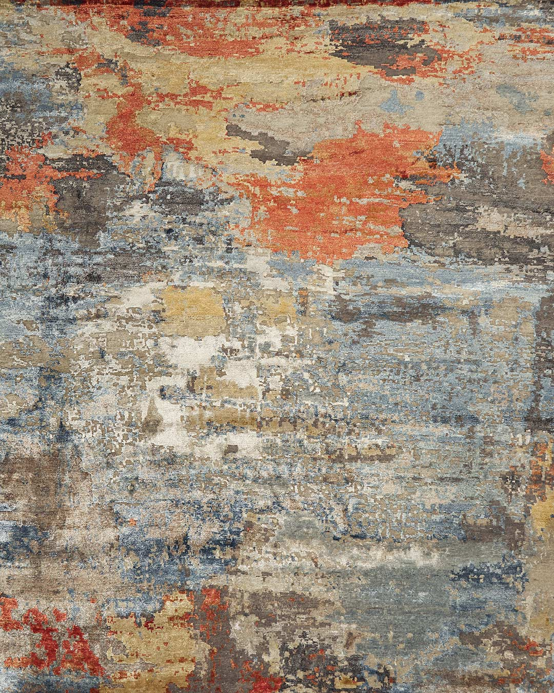 Overhead image of multi coloured Agate rug