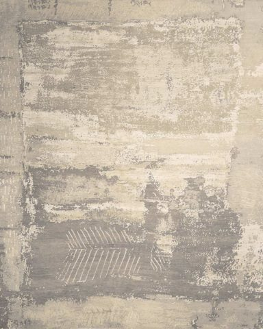Overhead image of distressed Fossil rug