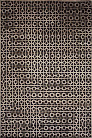 Overhead view of geometric Hudson rug in black and gold colour