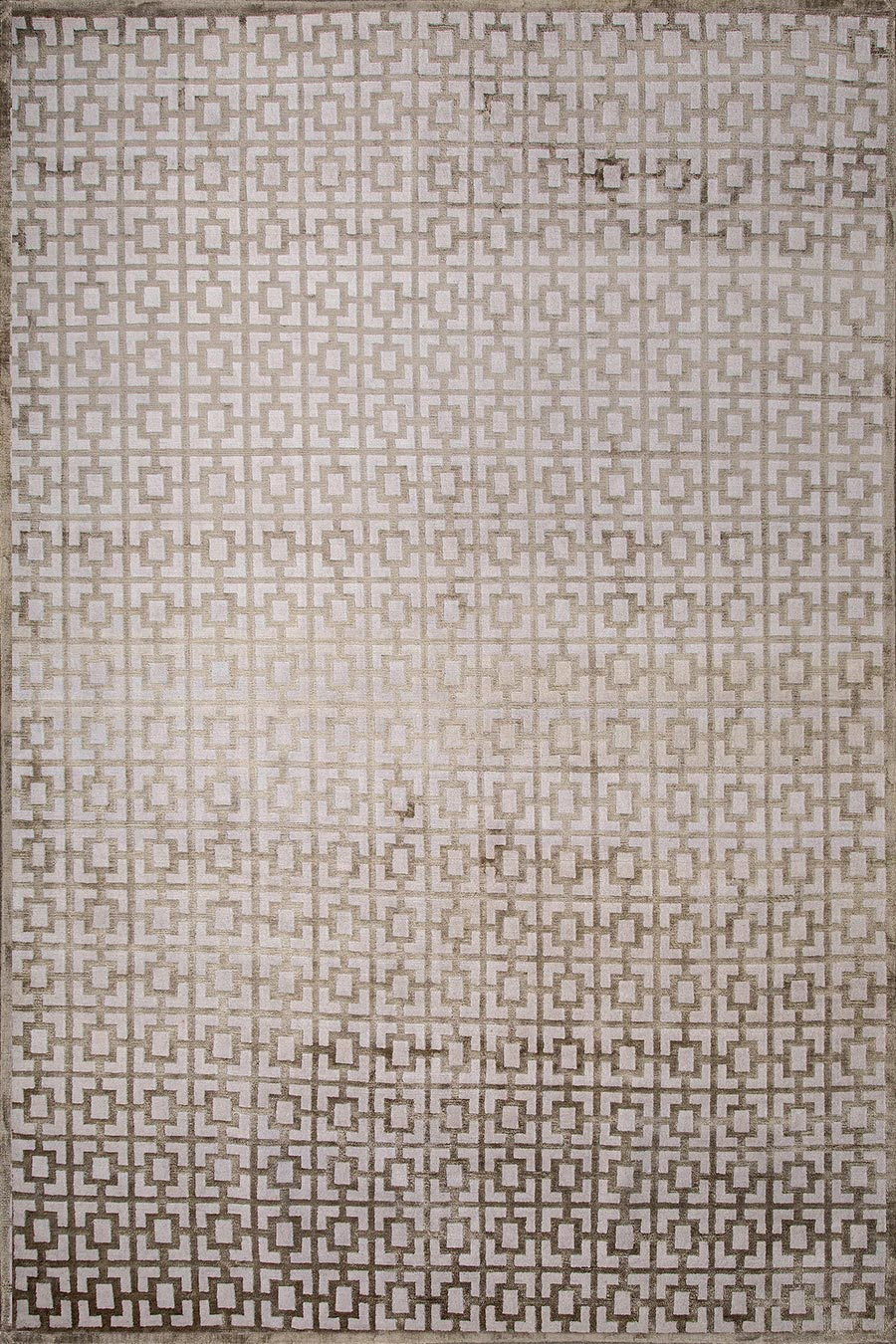 Overhead view of geometric Hudson rug in beige colour