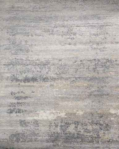 Overhead image of distressed Seamist rug in grey colour