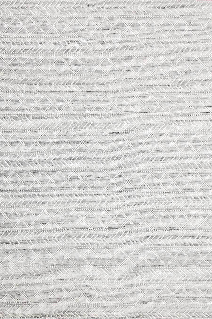 Overhead view of patterned Zinc rug in cream colour
