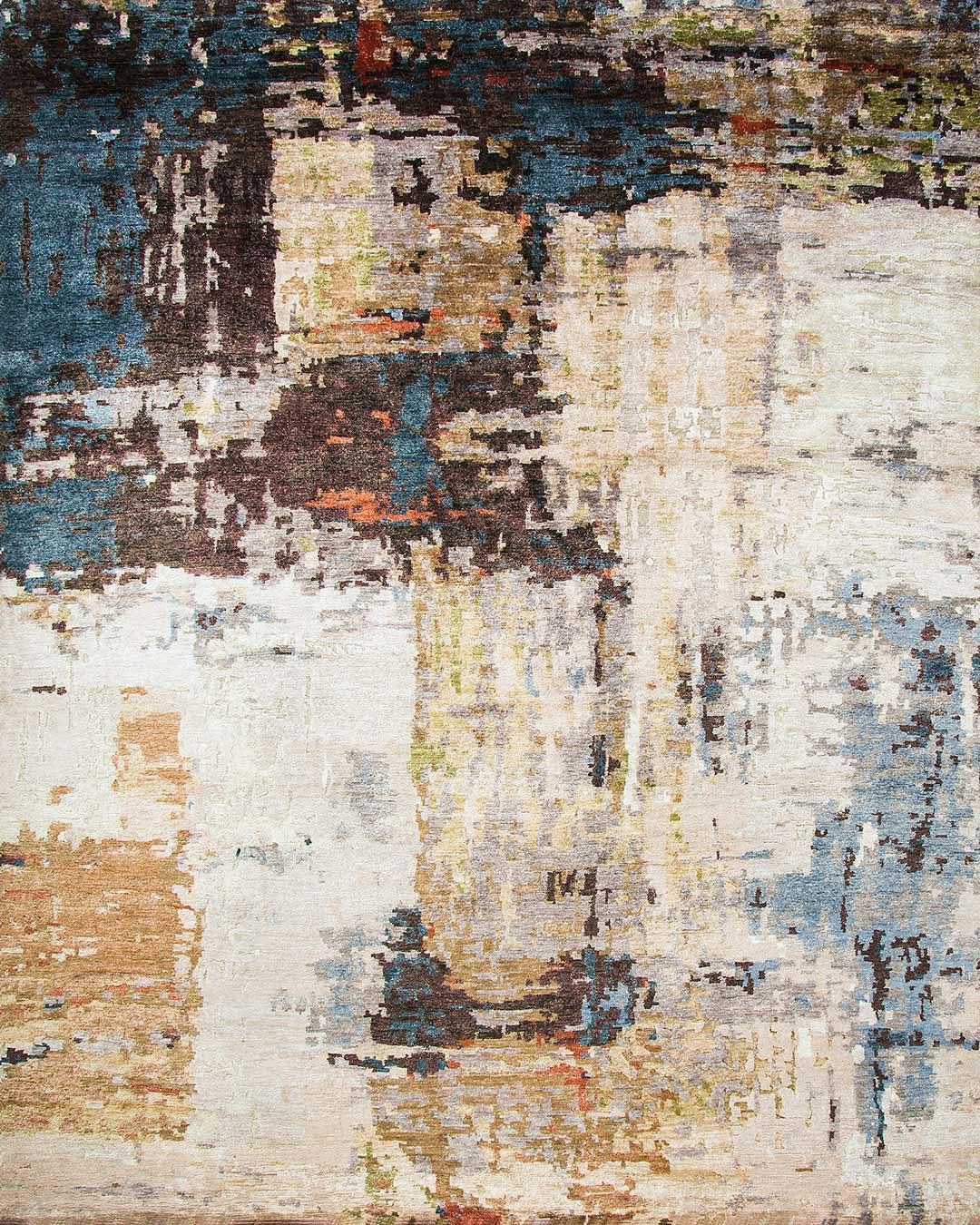Overhead view of abstract Genesis rug in beige