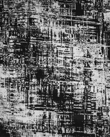 Overhead image of distressed Hatched rug in black colour