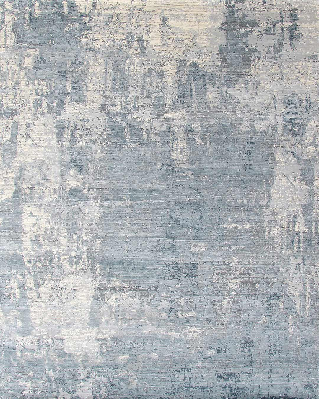Overhead image of textural Ice Age rug in blue colour