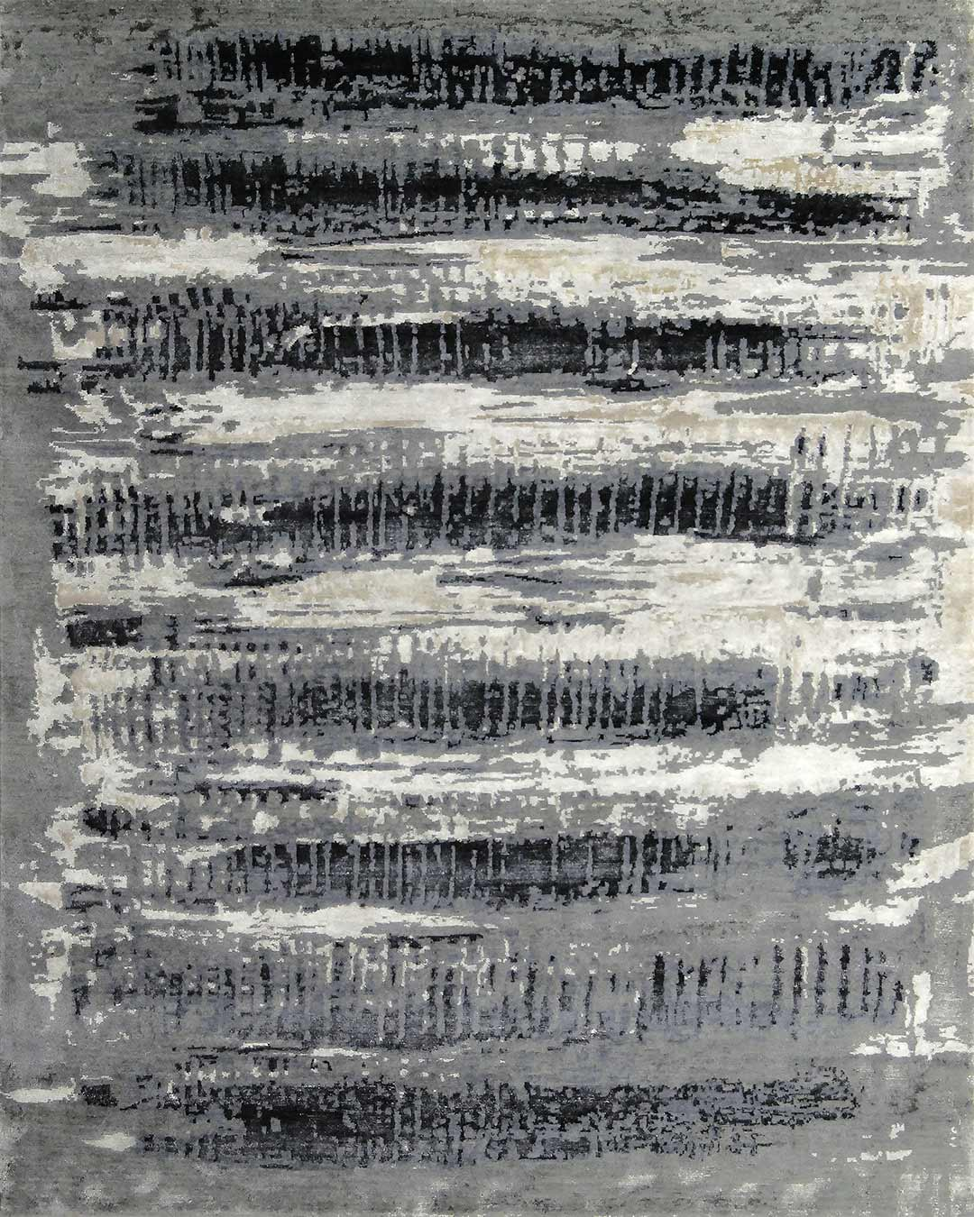 Overhead view of distressed Impact rug in charcoal grey colour