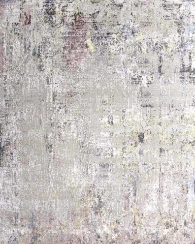Product image of distressed Lamancha rug in silver and pink colour