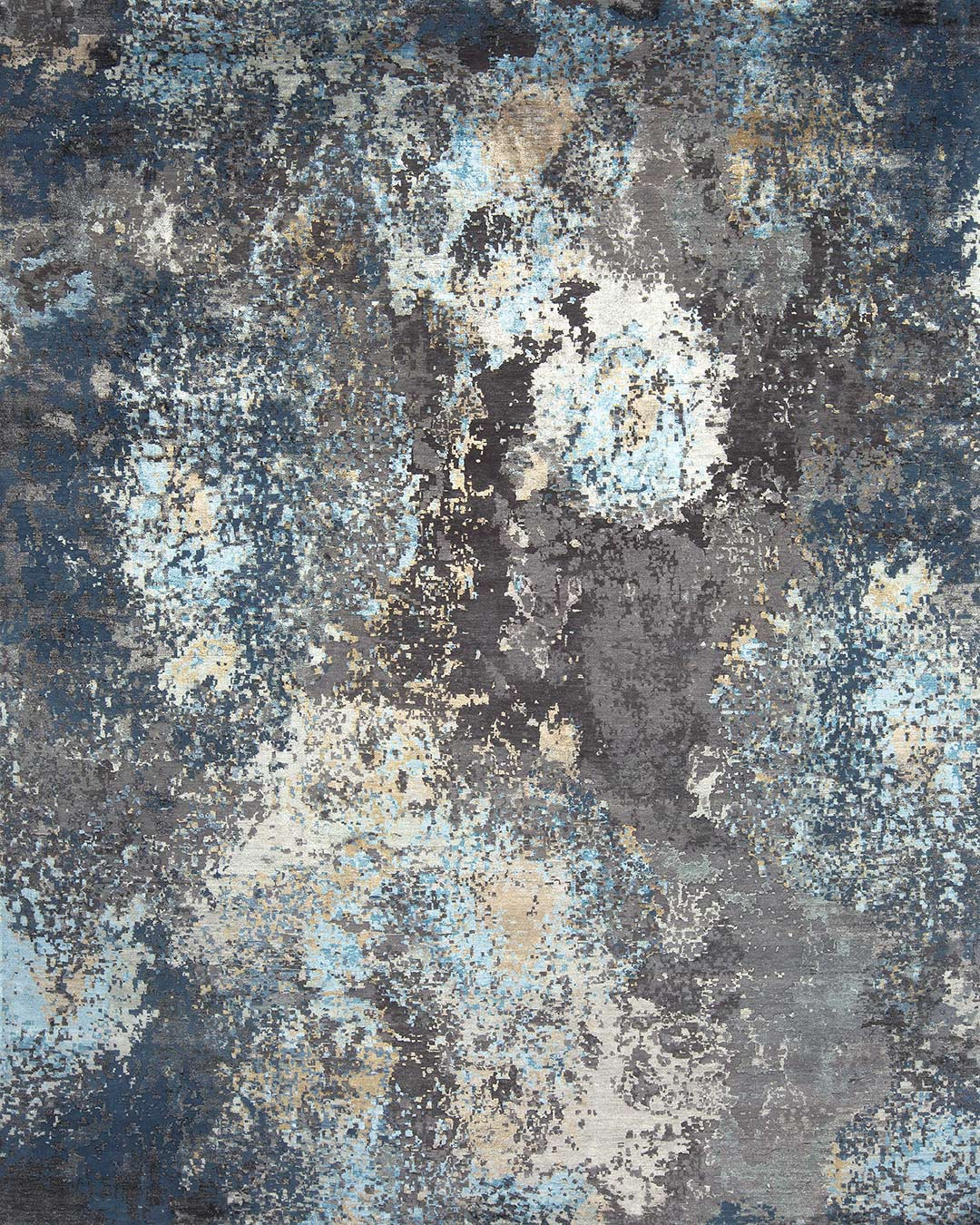 Overhead image of abstract Mars handknot rug in blue and gold colour