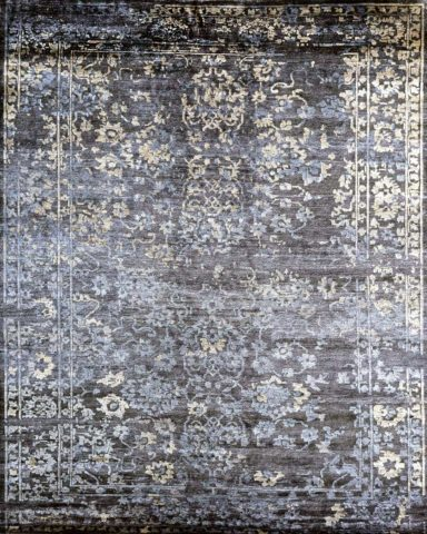 Product image of traditional Midnight Garden rug in navy blue colour