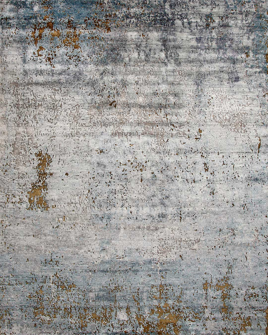 Overhead image of distressed Moonstone rug in grey and blue colour