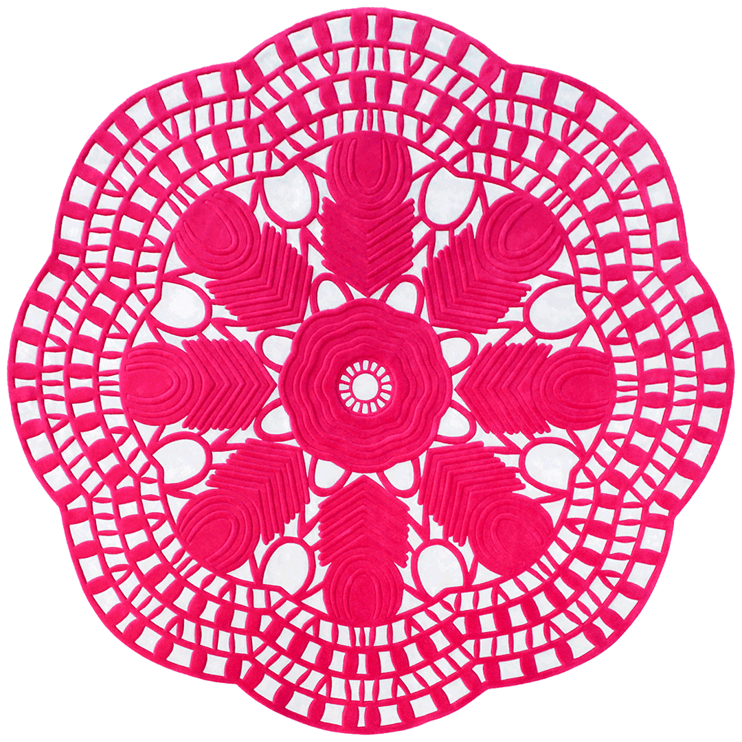 Overhead image of pink floral Evelyn rug by Petrina Turner