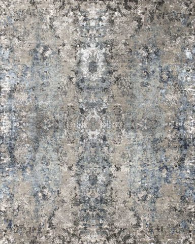 Overhead image of traditional Regency rug in blue colour