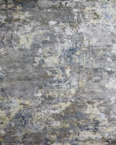Overhead image of abstract Rubico rug in grey and blue colour