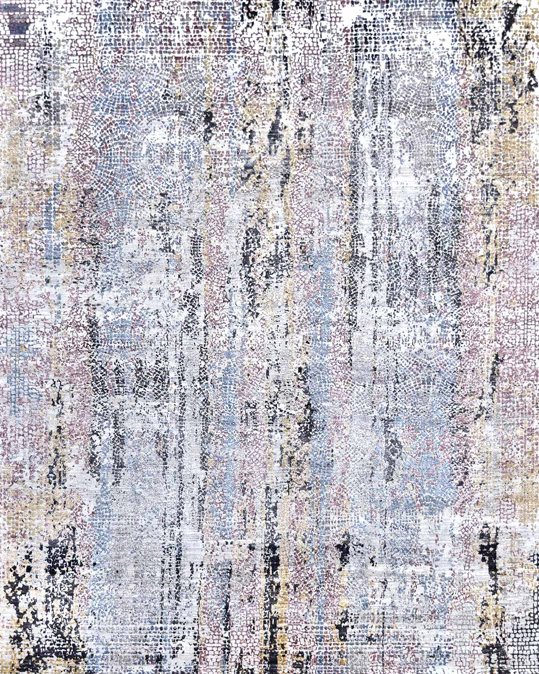 Overhead image of distressed Skye rug in purple and pink