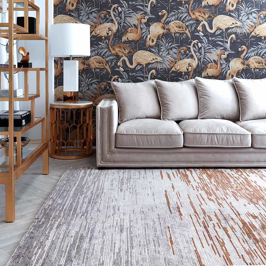 Living room image of distressed Bilby rug in bronze colour