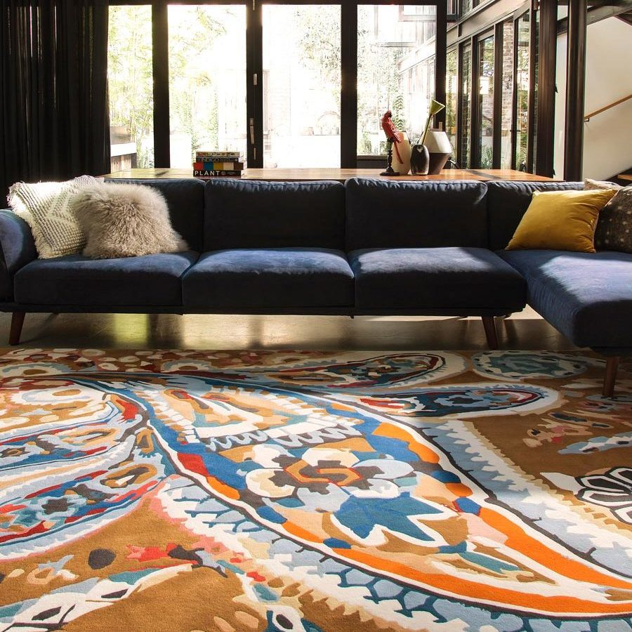 location living room shot of spanish almond rug by easton pearson