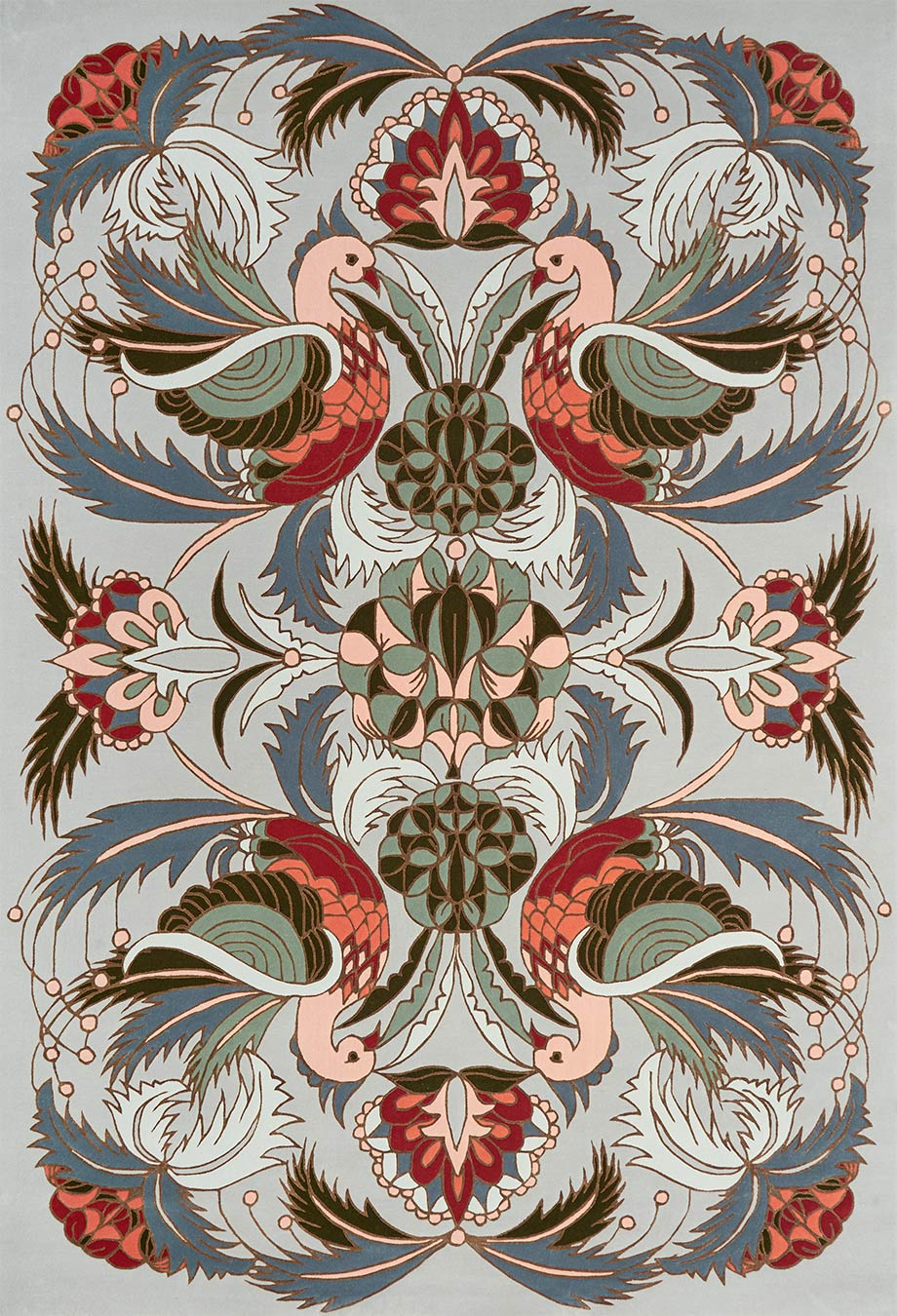 overhead image of art nouveau Bird Of Pine rug by house of heras