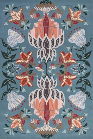 Overhead image of floral Cinnamon Bloom rug by House Of Heras in blue colour
