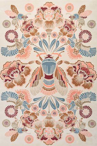 Overhead image of floral Honeybee rug by House Of Heras
