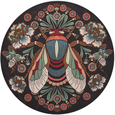 Overhead image of floral The Bees Knees rug by House of Heras