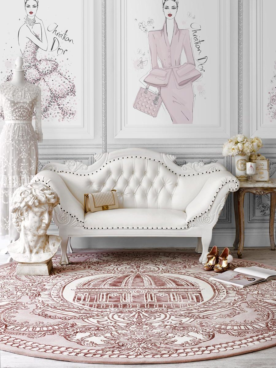 Styled image of classic The Palace Suite rug by Megan Hess in pink colour