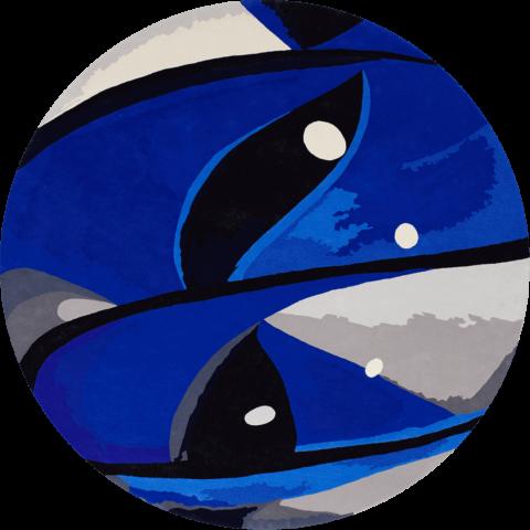 Overhead image of blue Cats Eye rug