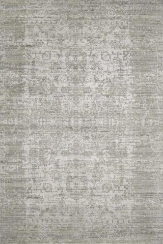 Overhead image of traditional Warwick rug in silver colour
