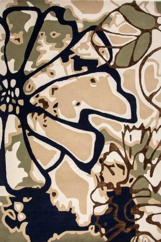 Overhead image of floral Tindal rug in beige colour