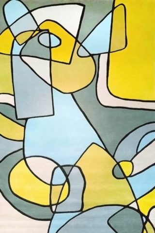 Overhead image of geometric Geometric Town rug in pastel colours