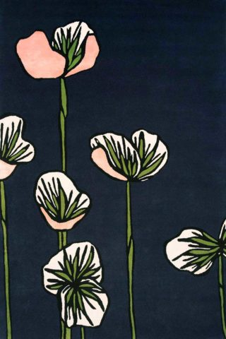 Overhead image of floral Heirloom Soliders rug in navy colour