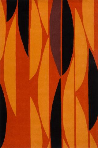 Overhead image of geometric Half Moon rug in orange colour