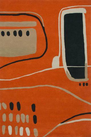 Overhead of Ruskin rug in orange colour