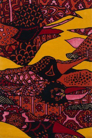 Overhead image of Sturt Desert Pea rug in pink colour