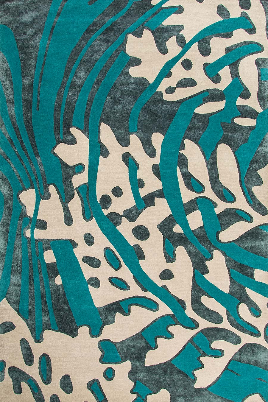Overhead view of organic Interwoven Stream rug in teal colour