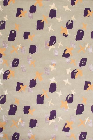 Overhead image of spotted Push rug in purple colour