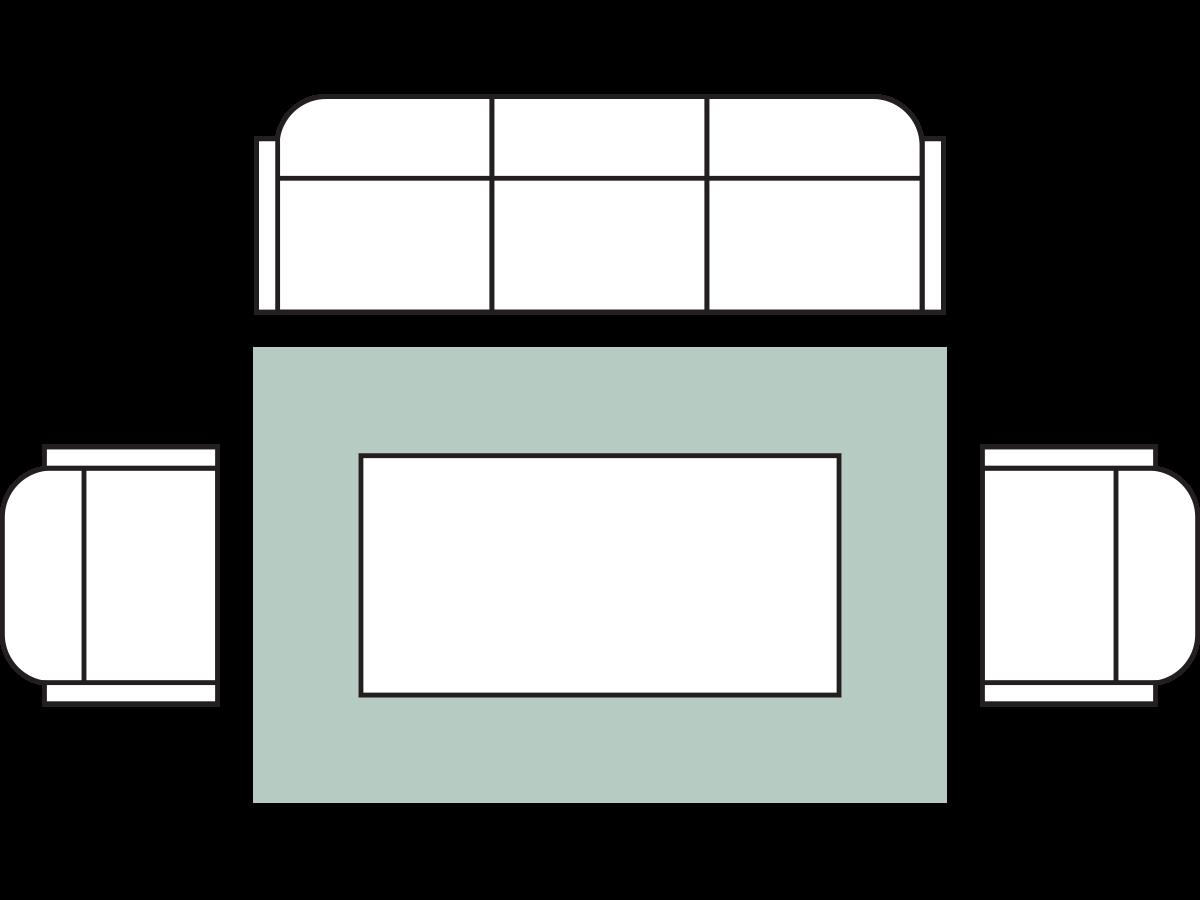Furniture surrounding the rug.